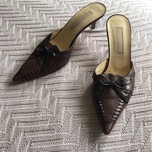 Michael Kors brown leather mules, size 8.5